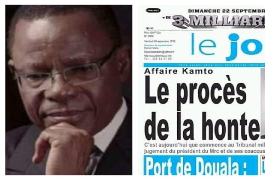 A propos du procès de Maurice Kamto et cie, Le journal Le Jour Titre: «Leprocès de la honte»
